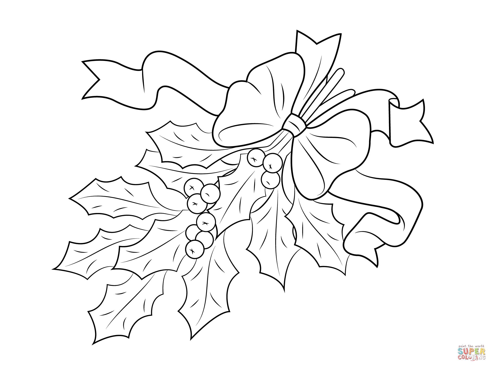 Printable Christmas Holly Coloring