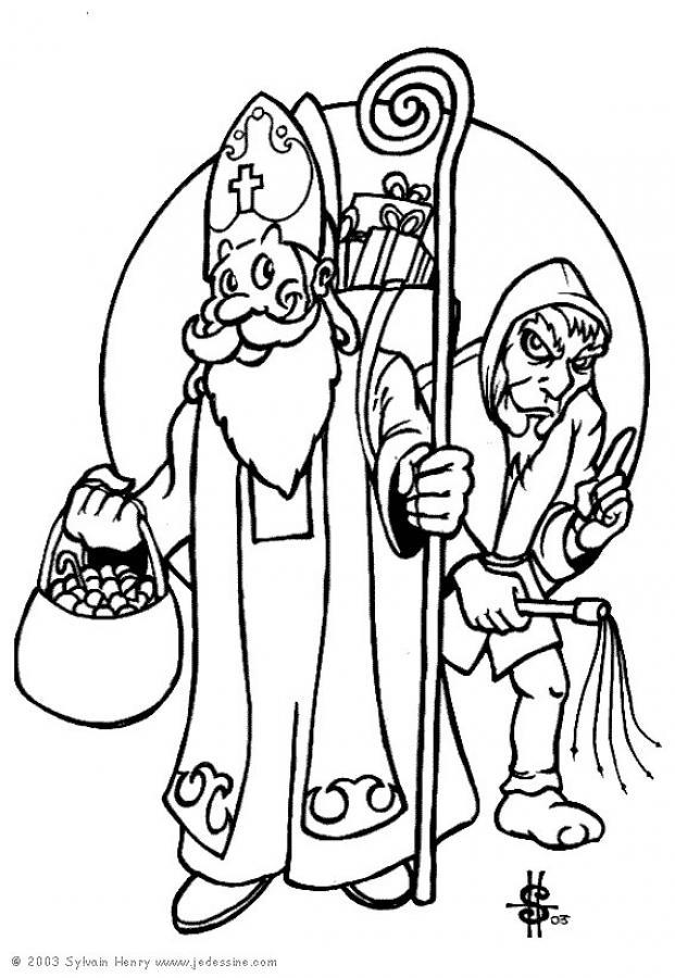 Santa Claus Coloring Pages Saint Nicholas And Black Peter Coloring Home