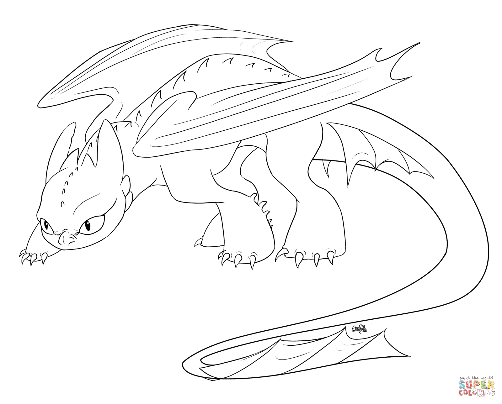 Baby Toothless Dragon Coloring Pages - Coloring Home