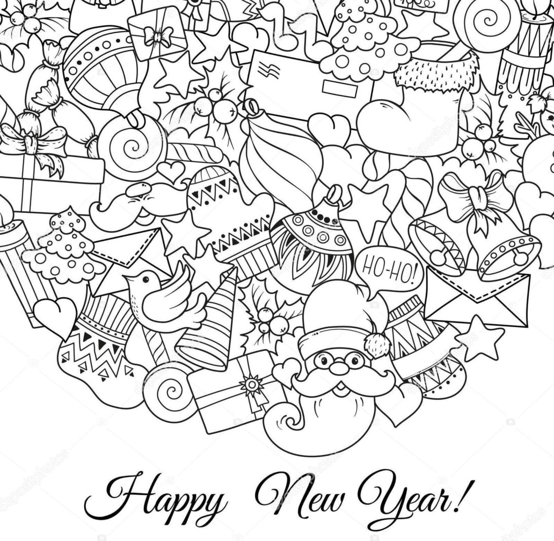 Printable Happy New Year Coloring Page | 1065x1092