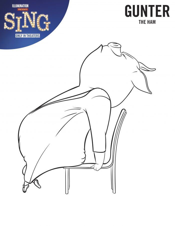 Gunter - Sing Movie Coloring Page