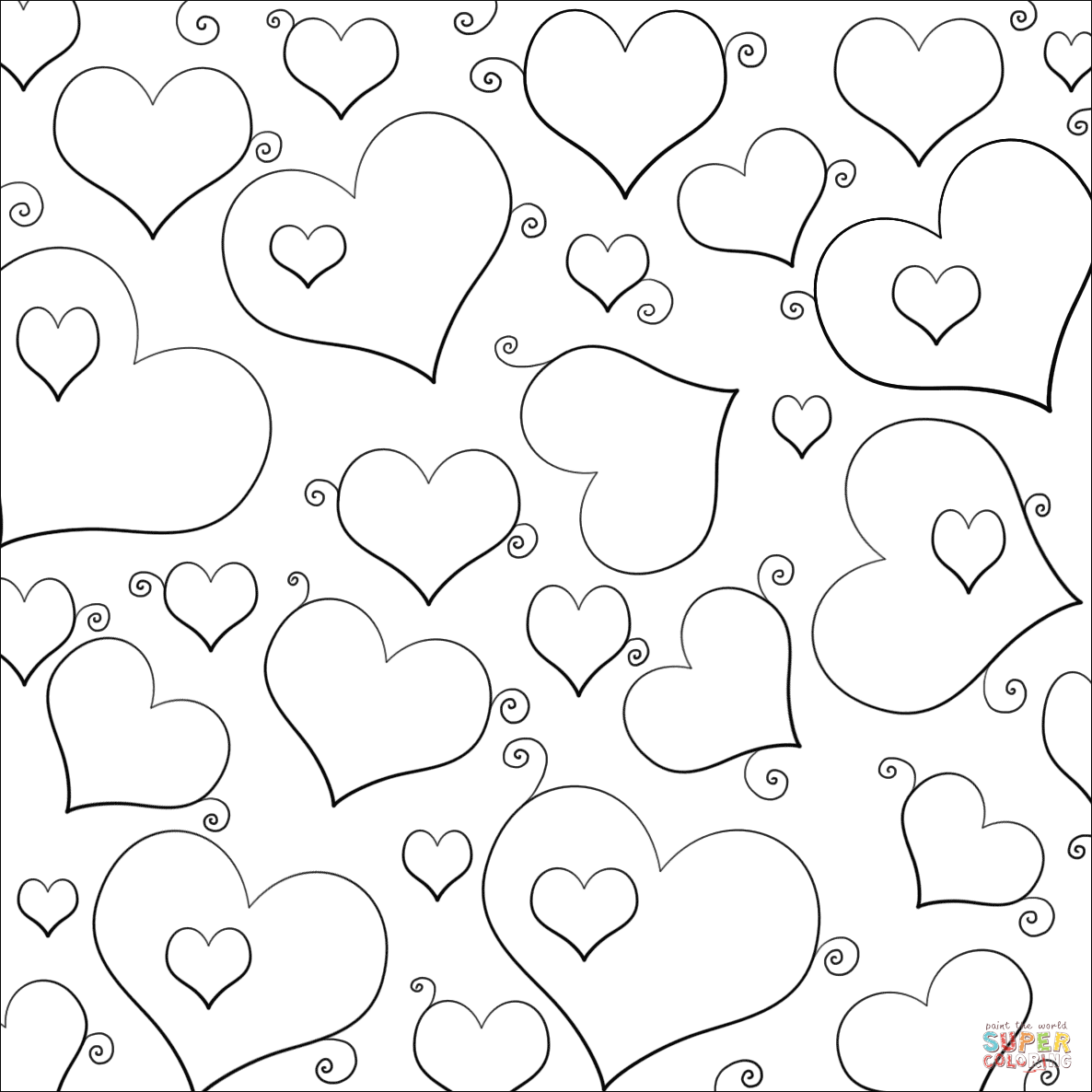 Lots of Hearts coloring page | Free Printable Coloring Pages