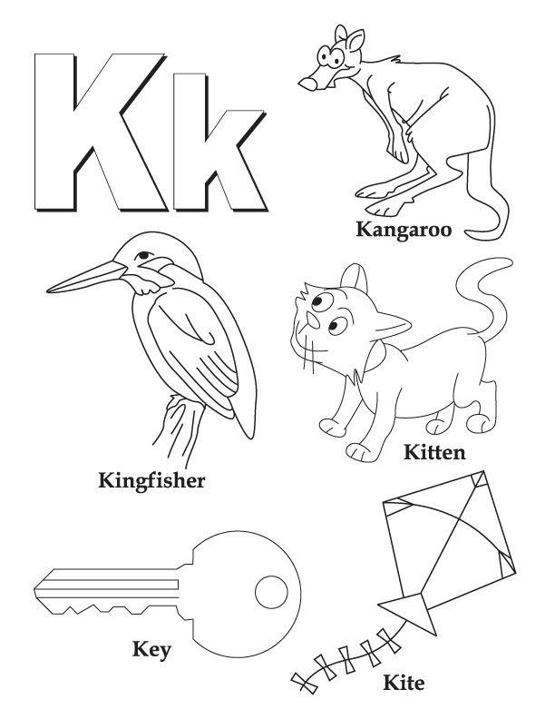 Coloring, Letter k and Coloring pages