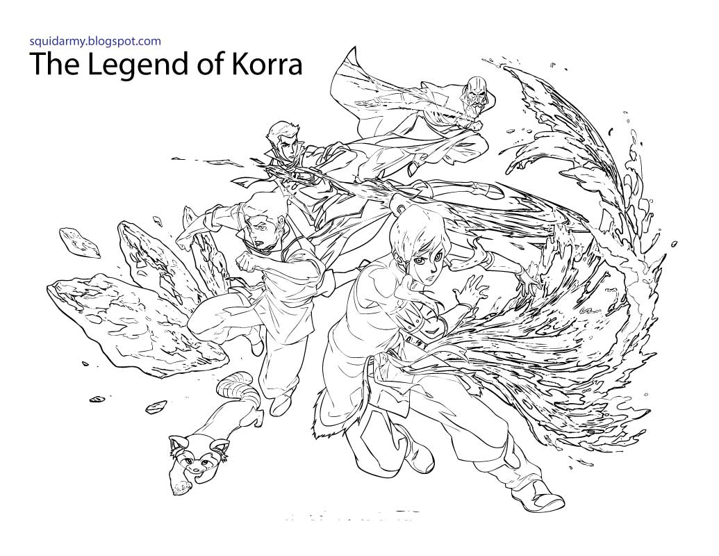Avatar Legend Korra Coloring Pages Squid Army