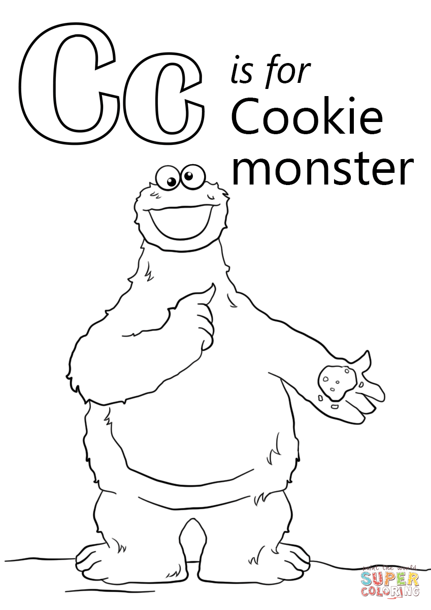 Letter C Is For Cookie Monster Coloring Page Free Printable