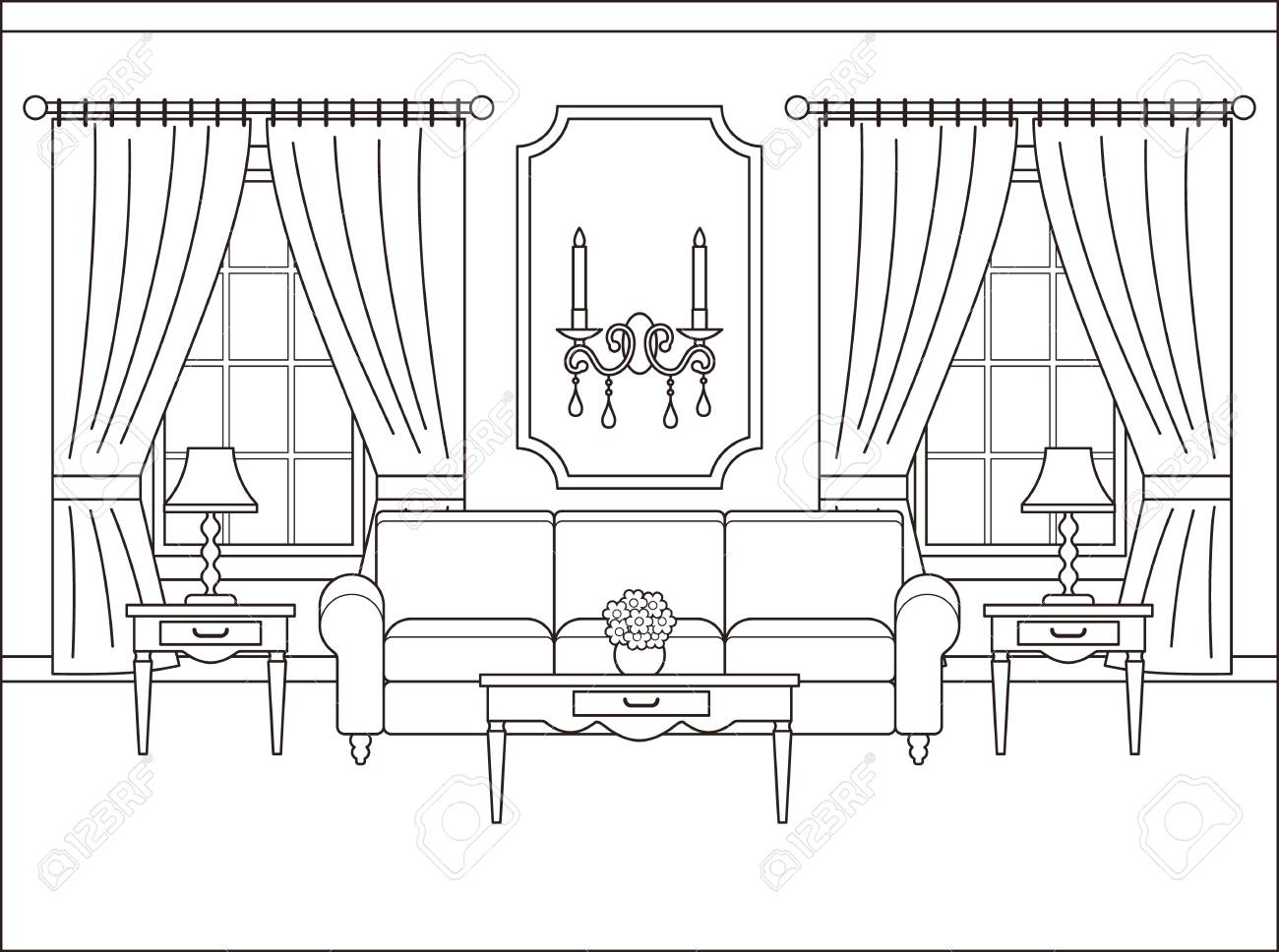 Coloring Page Living Room Clipart Black And White Coloring Home