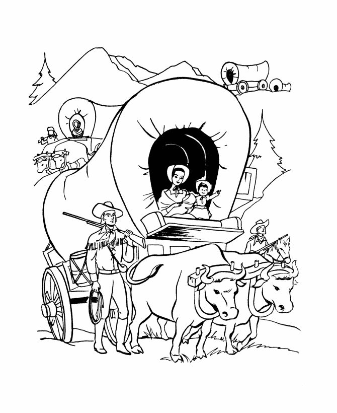 Covered wagon coloring pages for kids ~ Covered Wagon Coloring Page - Coloring Home