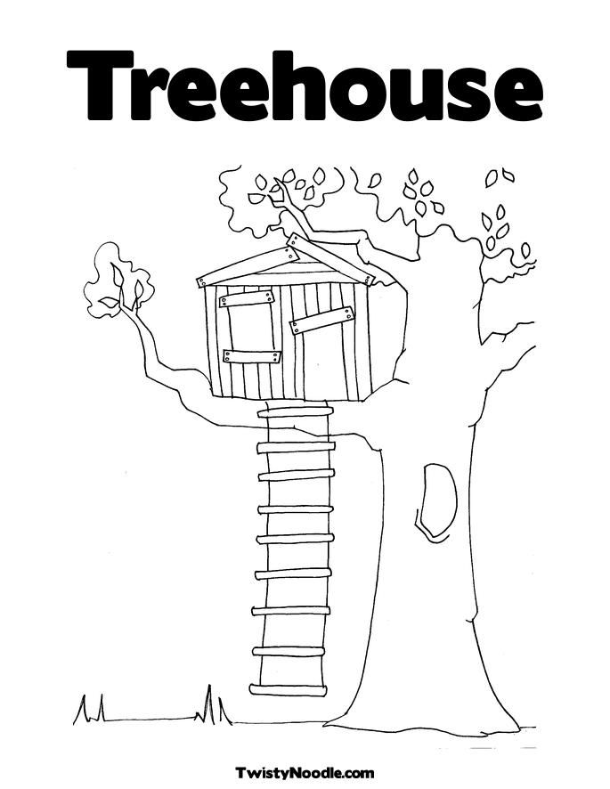 Free Tree House Coloring Pages Coloring Home