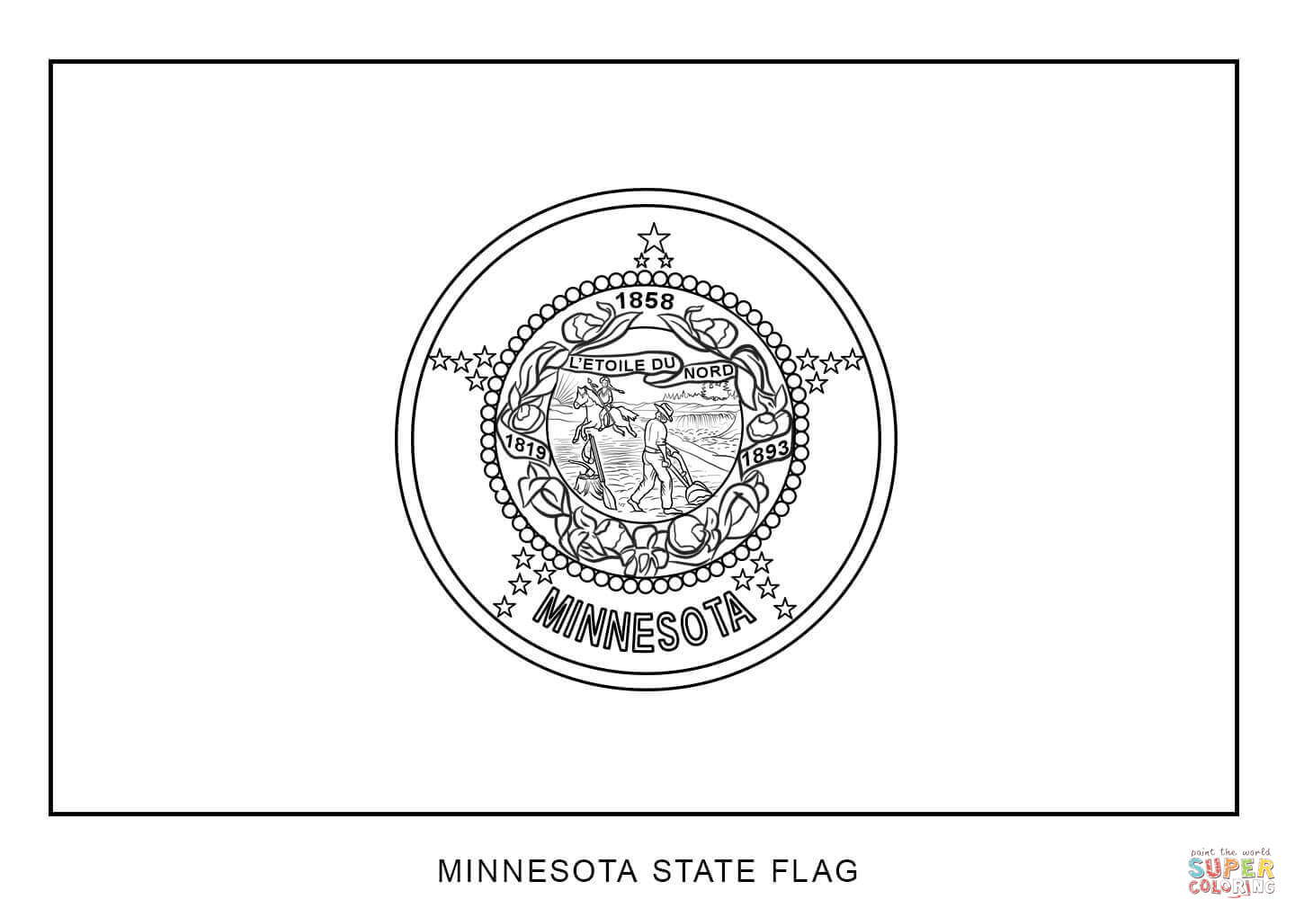 minnesota state flag coloring page coloring home