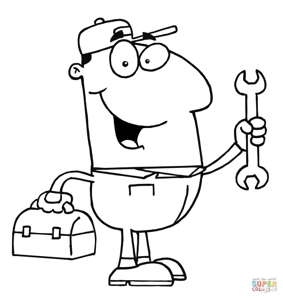 13570 mechanic clipart black and white free black for Mechanic coloring pages