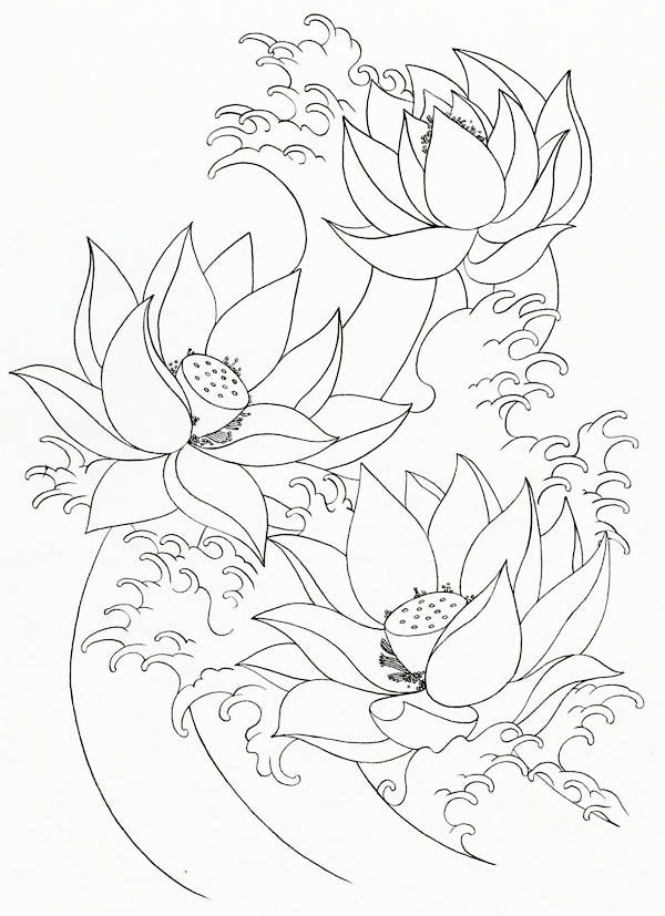 Printable Lotus Flower Coloring Pages