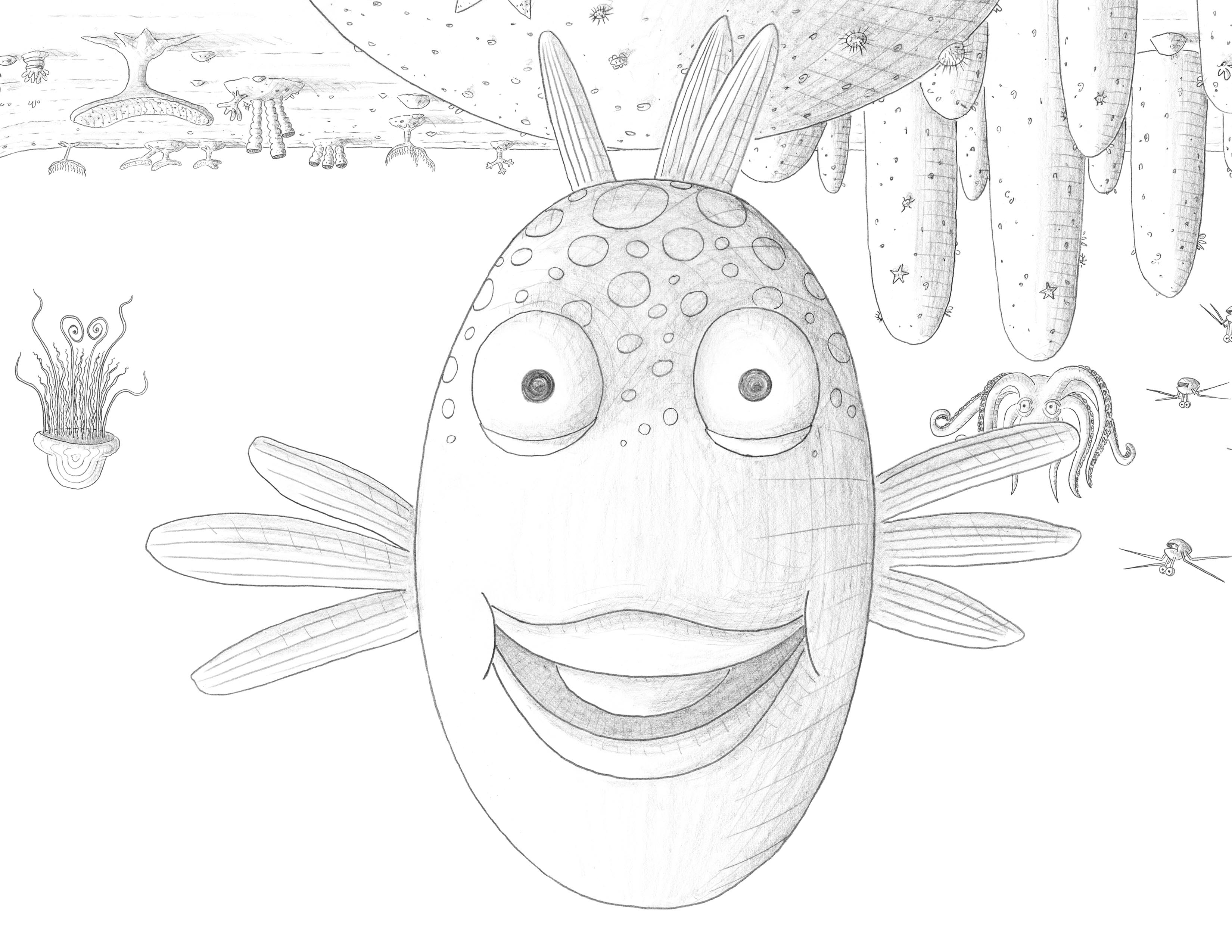 fishes kissing coloring pages - photo#30