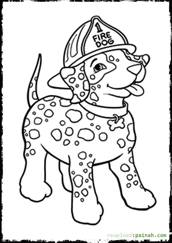 Fire Truck Fireman And Dog Printable Coloring Page Coloring Fire ...