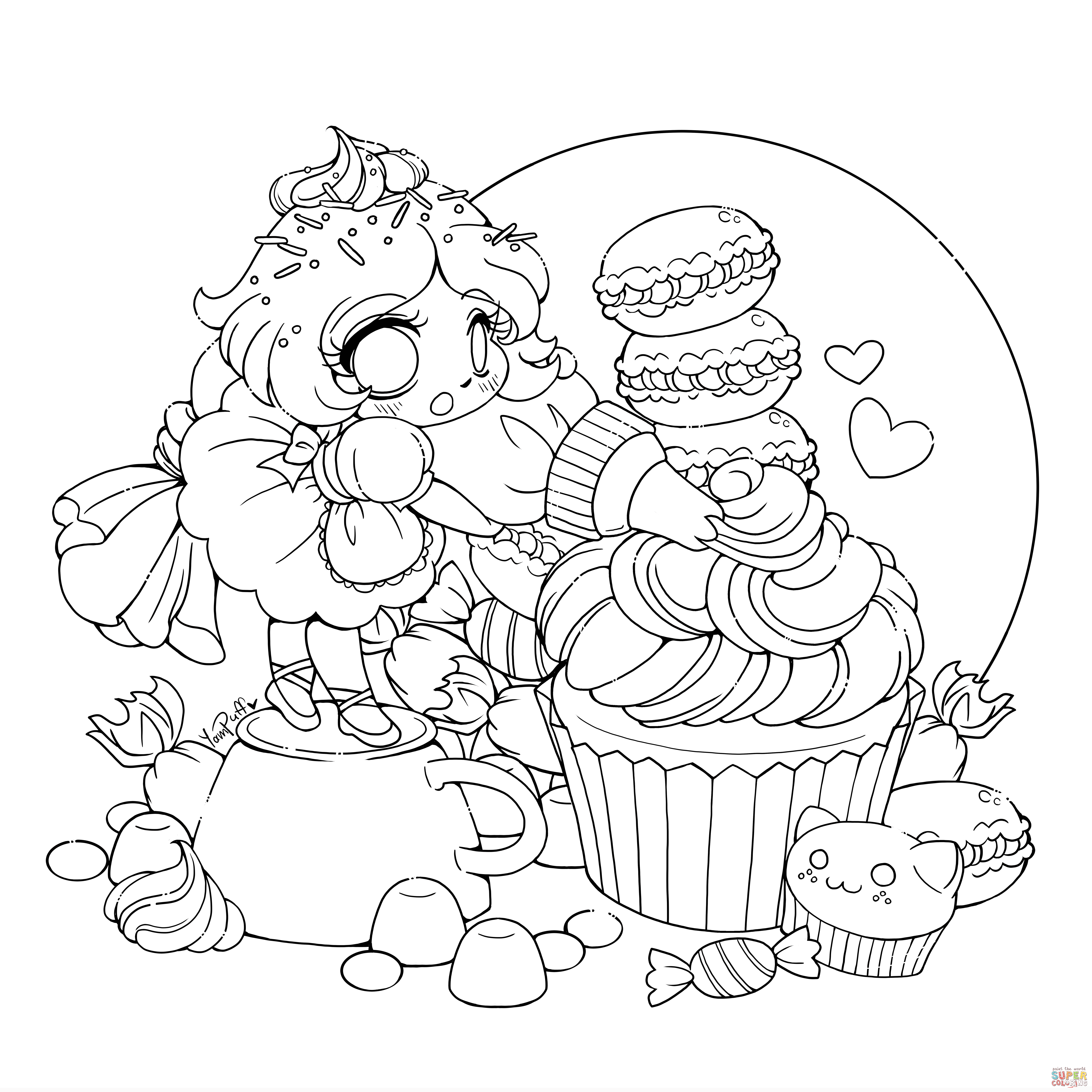 chibi lollipop girl coloring page free printable coloring pages