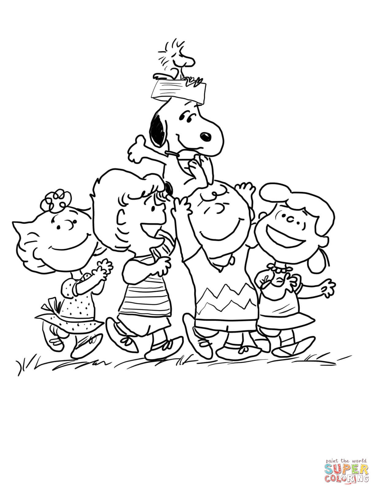 Peanuts Gang coloring page | Free Printable Coloring Pages