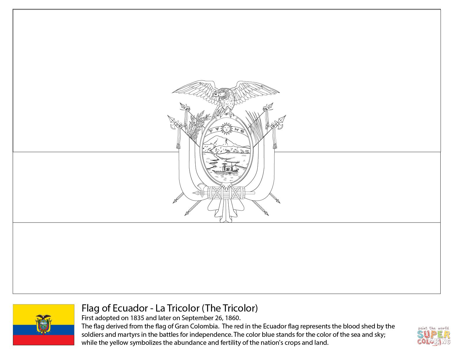 Ecuador Flag Coloring Page Coloring Home