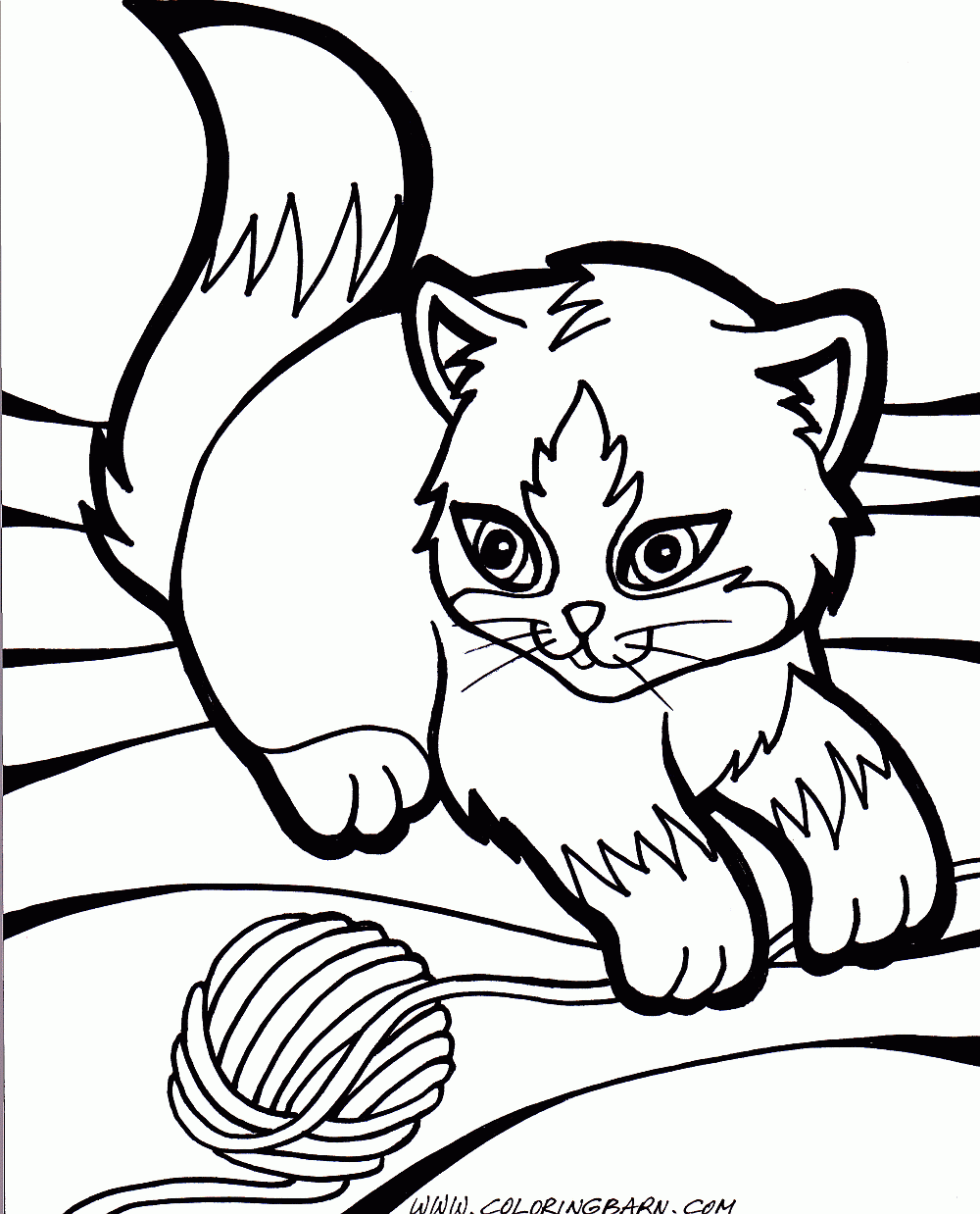 Kitten And Puppy Coloring Page