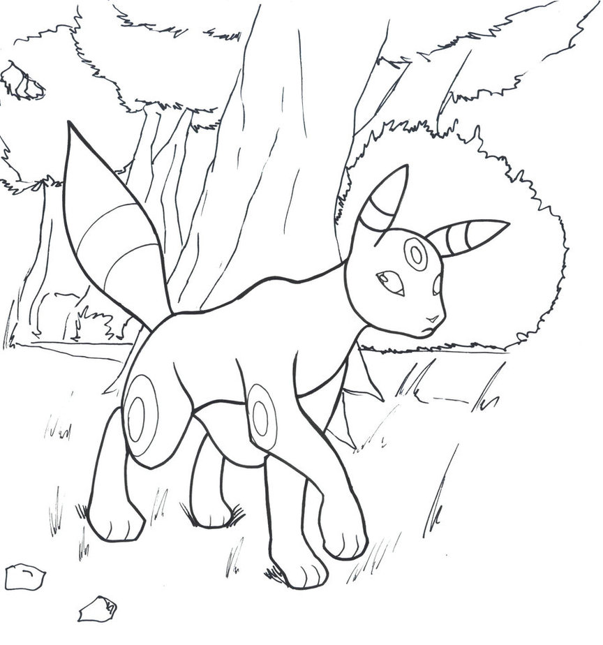 Pokemon Umbreon Coloring Page  Coloring Home