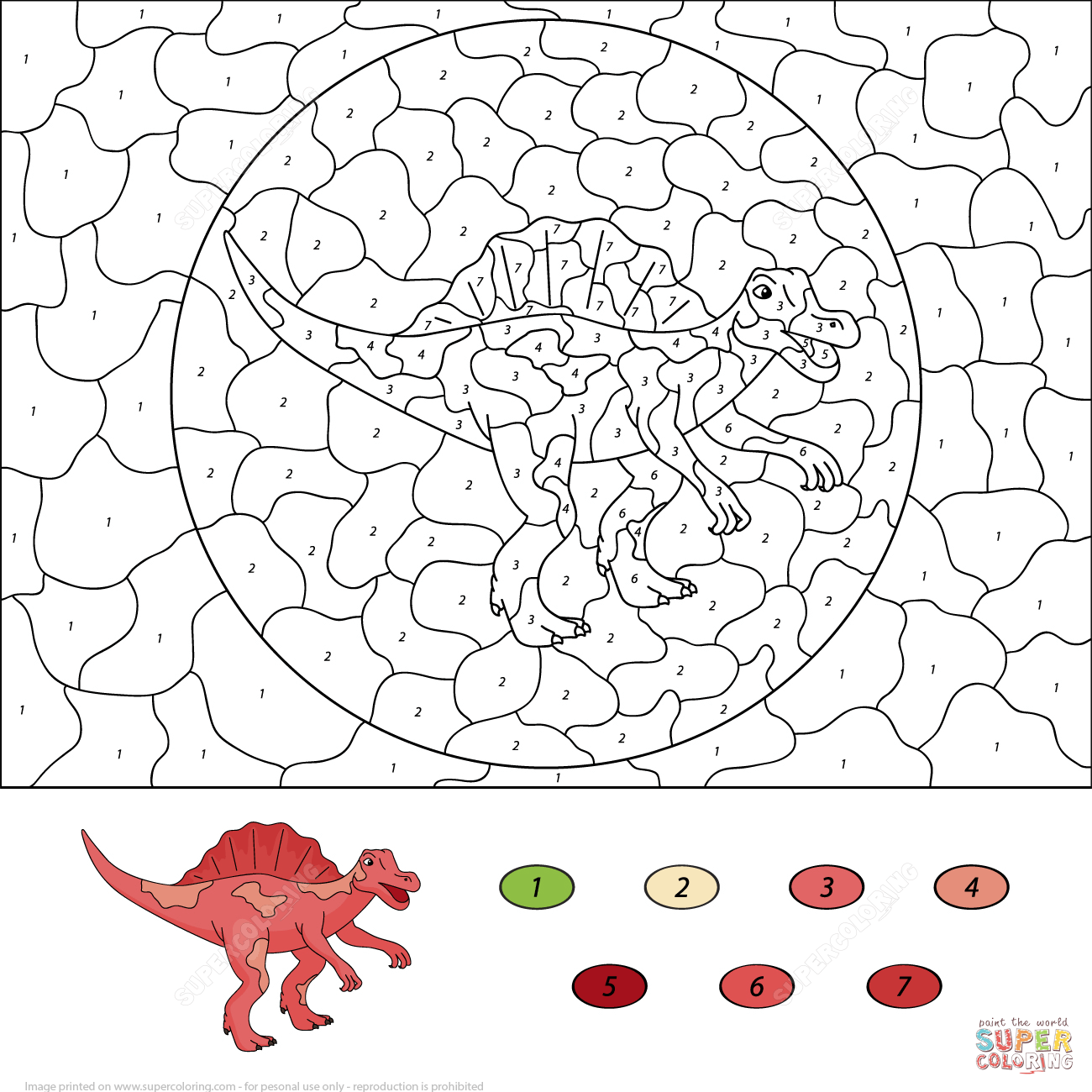 Colour By Number Dinosaur : Dinosaurs color by number coloring pages free printable pictures