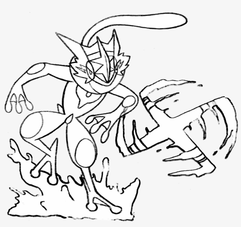 Pokemon Ash Greninja Coloring Pages - Ash Greninja Line Art ...