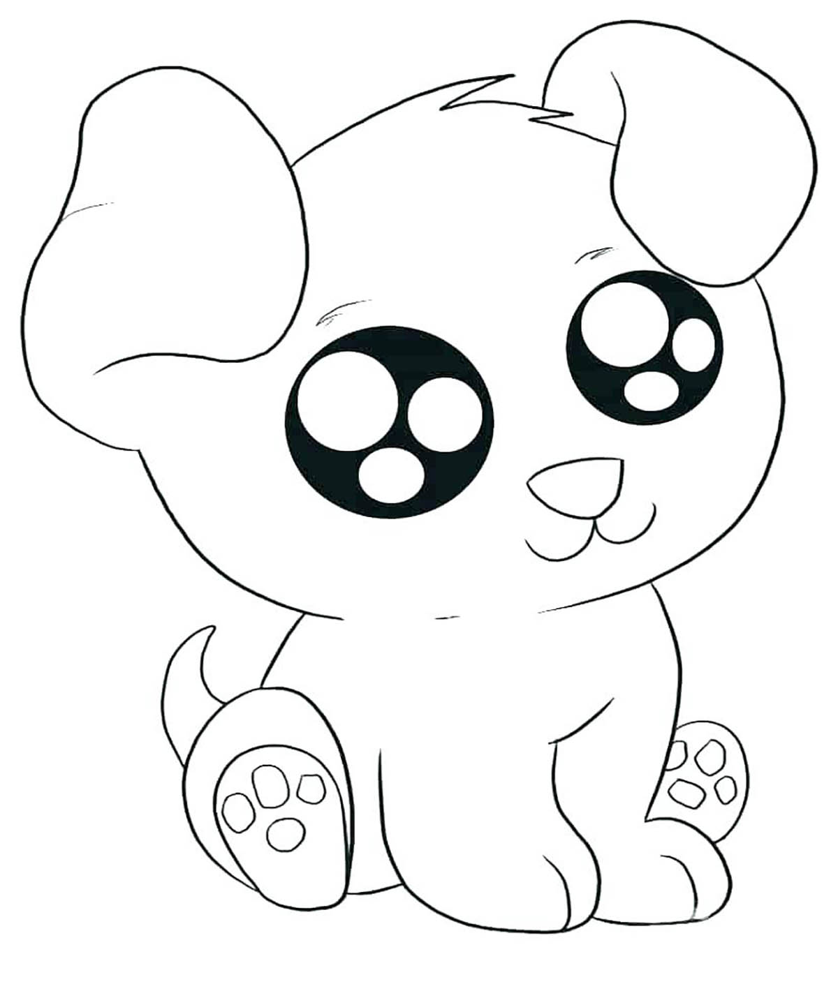 Dogs to print : Kawaï dog - Dogs Kids Coloring Pages