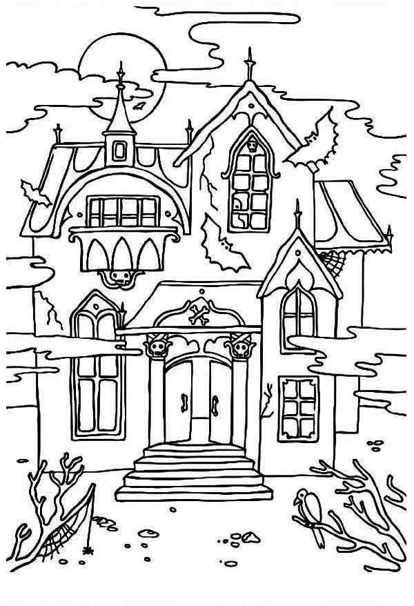 Cartoon Haunted House Coloring Page - Coloring Home