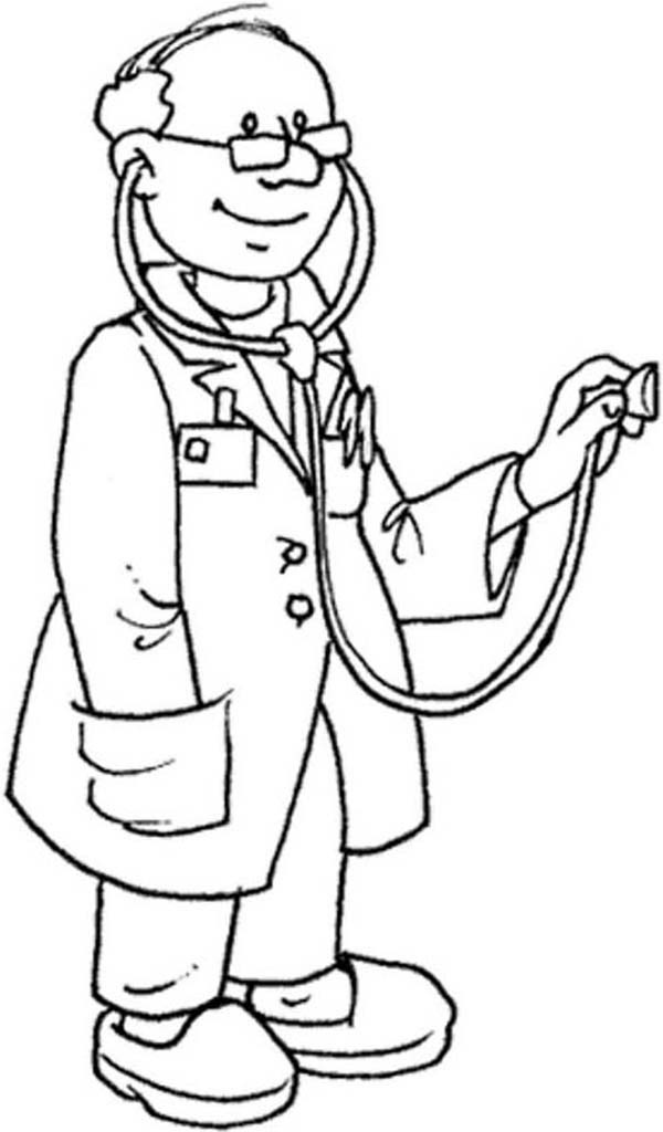 Expert Doctor And His Stethoscope Coloring Page Expert Doctor And
