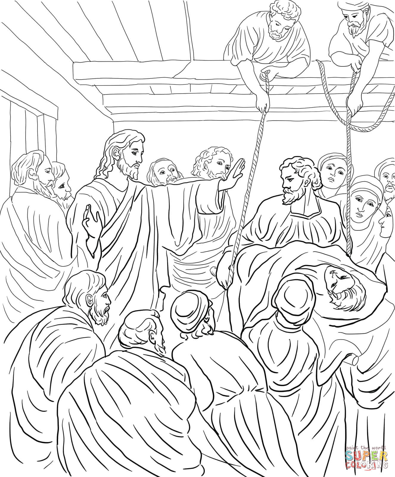 Jesus heals a man by the pool coloring page coloring home for Healing at the pool of bethesda coloring page