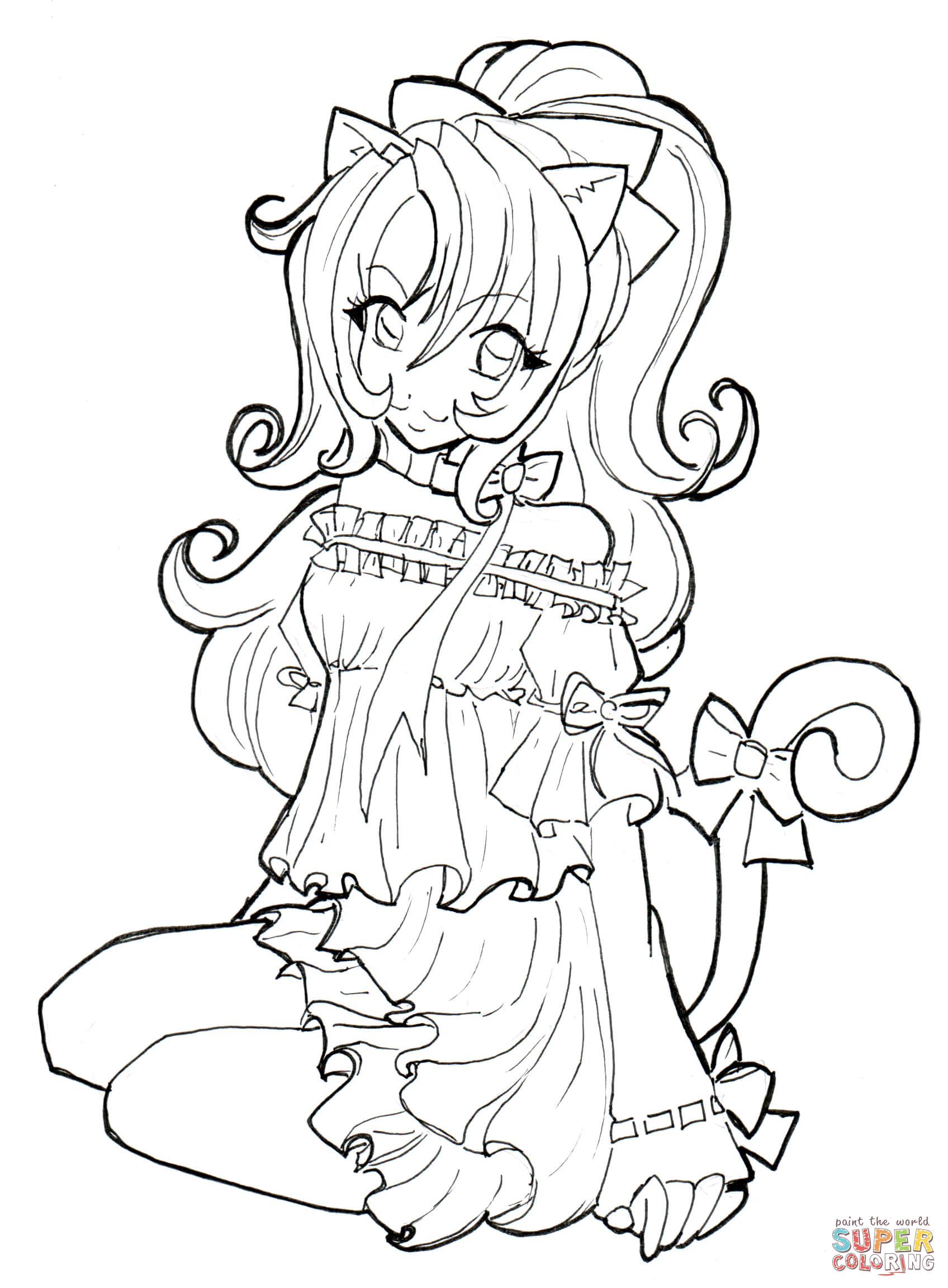 Cat Girl Coloring Page