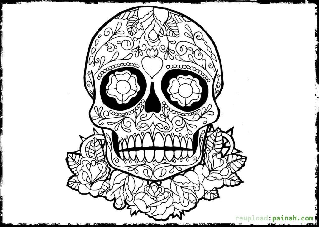 Day Of The Dead Skull Coloring Pages Dead Art Coloring
