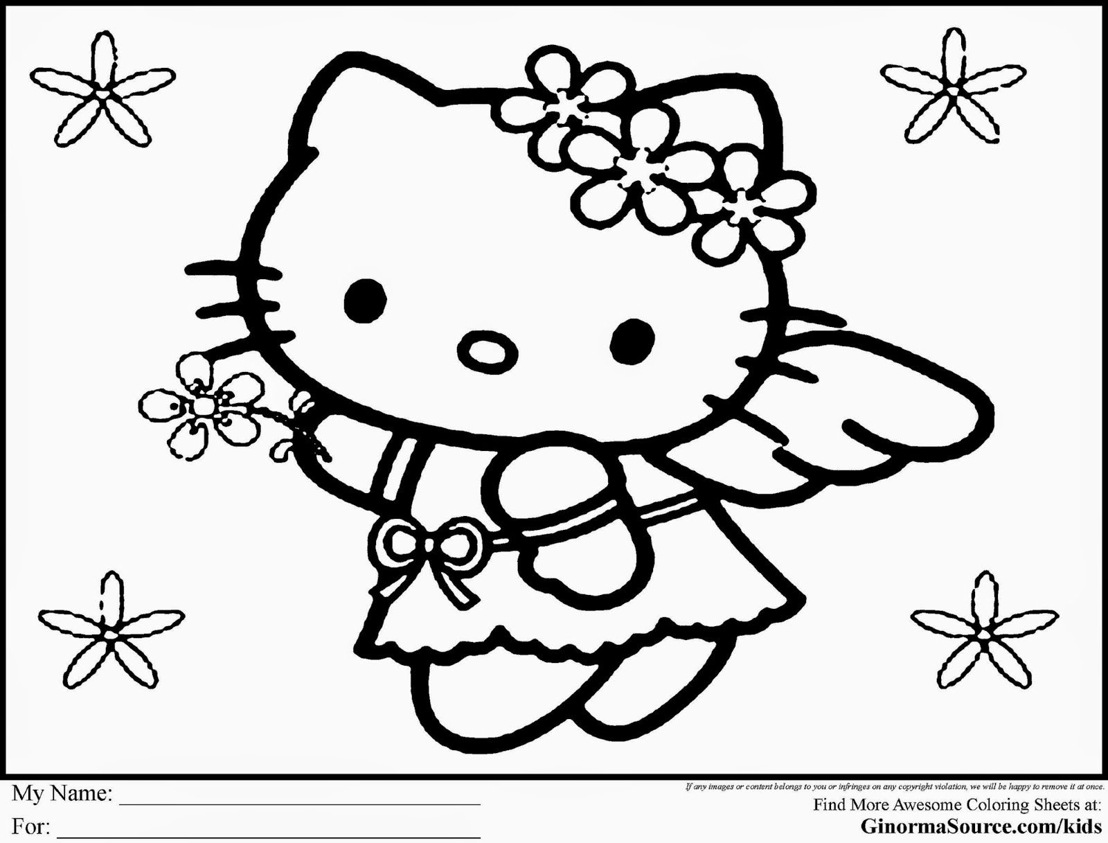 HELLO KITTY COLORING PAGES February 2015
