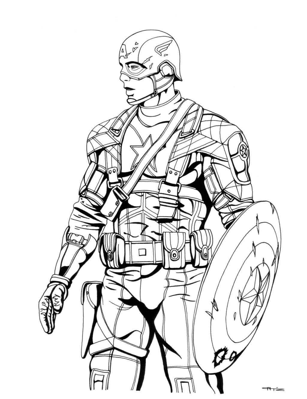 Captain America Fighting Bad Guy Coloring Pages