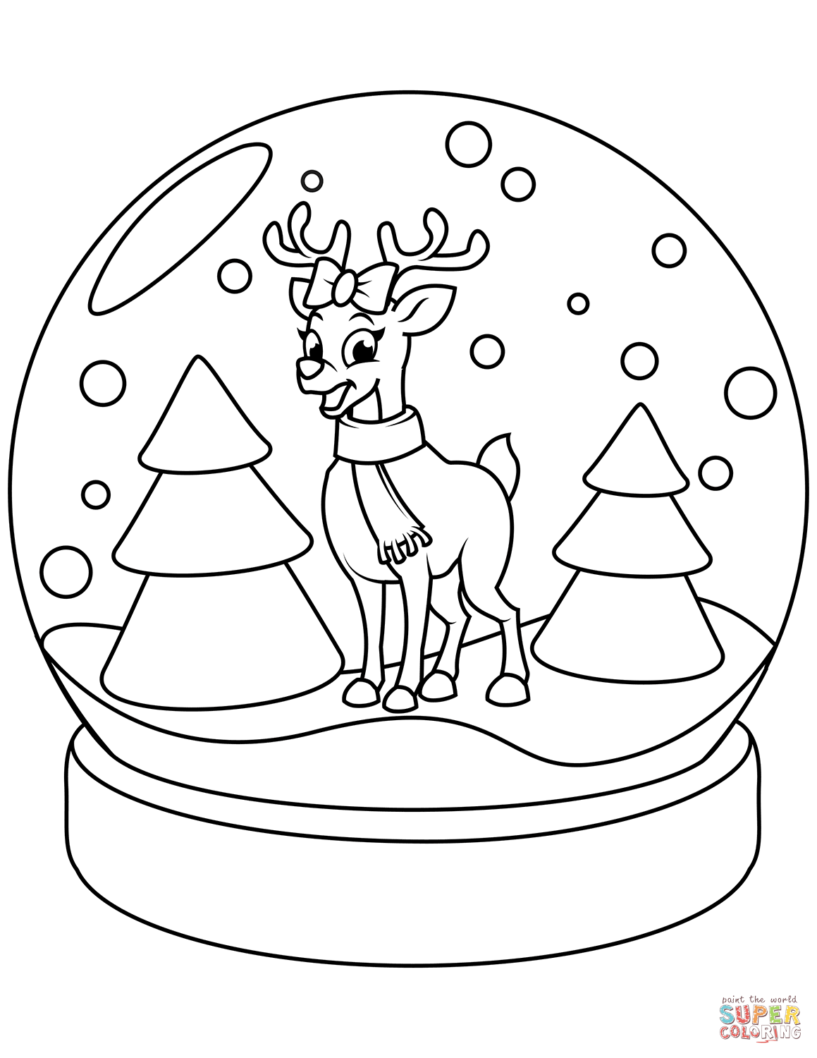 Christmas Snow Globe with Reindeer coloring page | Free Printable Coloring  Pages