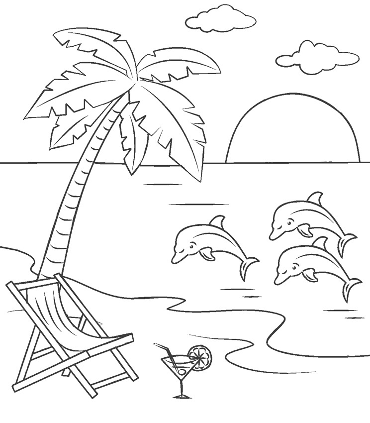 Coloring Pages Beach Sunset - Coloring Home