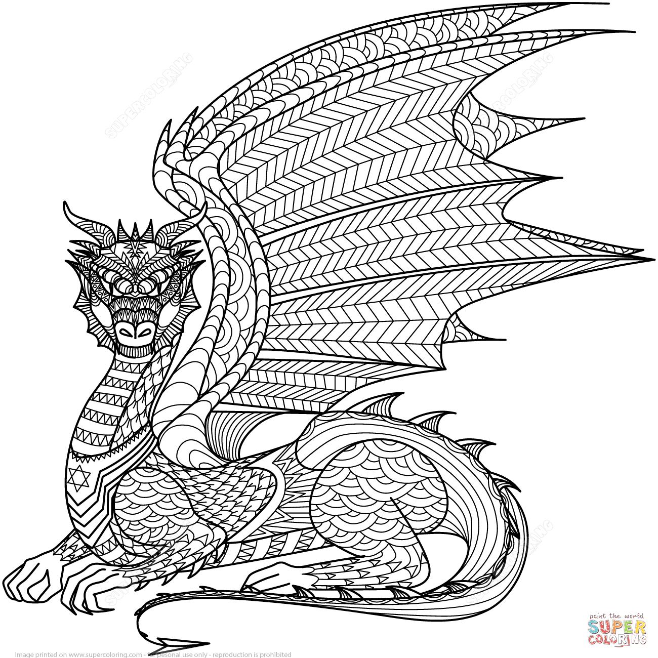 dragon zentangle coloring page free printable coloring pages - Zentangle Coloring Pages