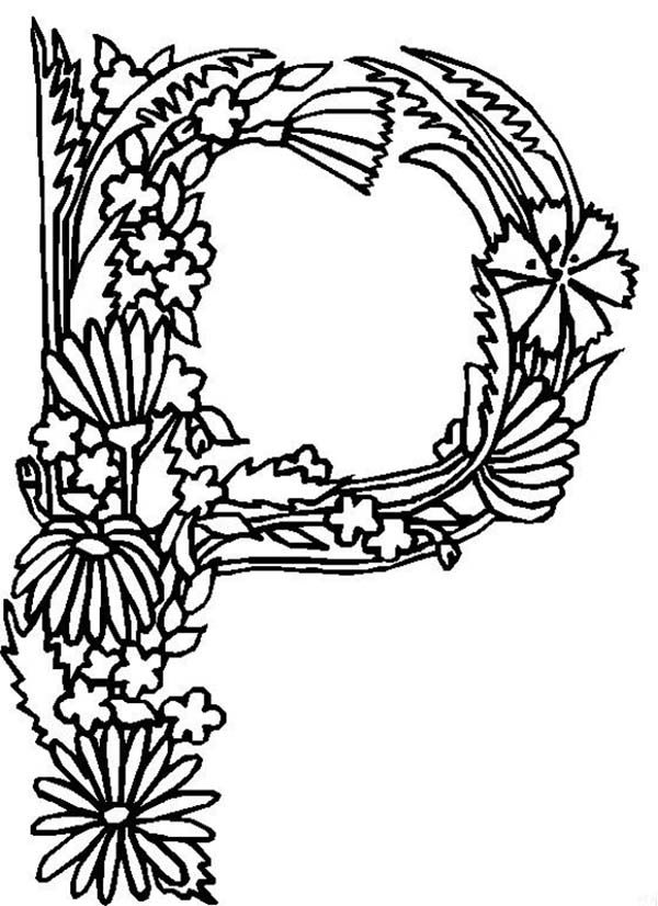 Alphabet flower coloring page coloring home for Letter p coloring pages