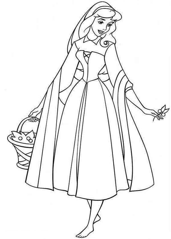 Princess Aurora is Going to Picnic with Prince Phillip Coloring ...