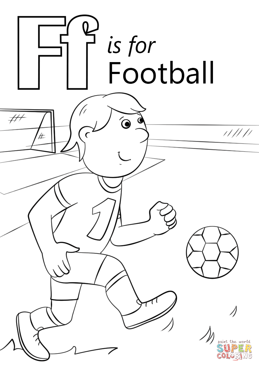 Letter f is for football coloring page free printable coloring pages