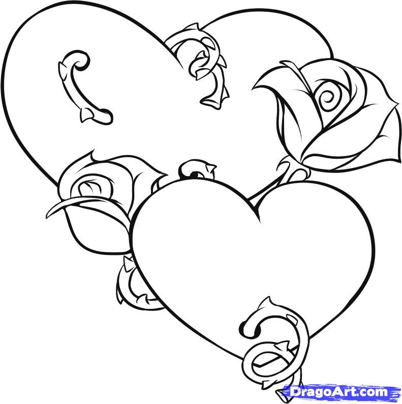 Flower And Hearts Coloring Pages