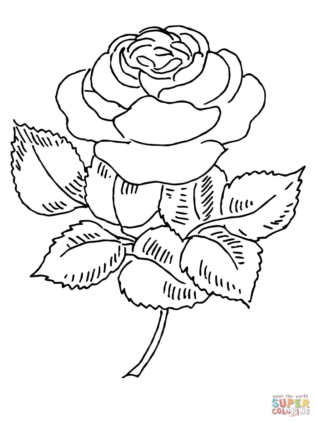 Intricate Rose Coloring Page