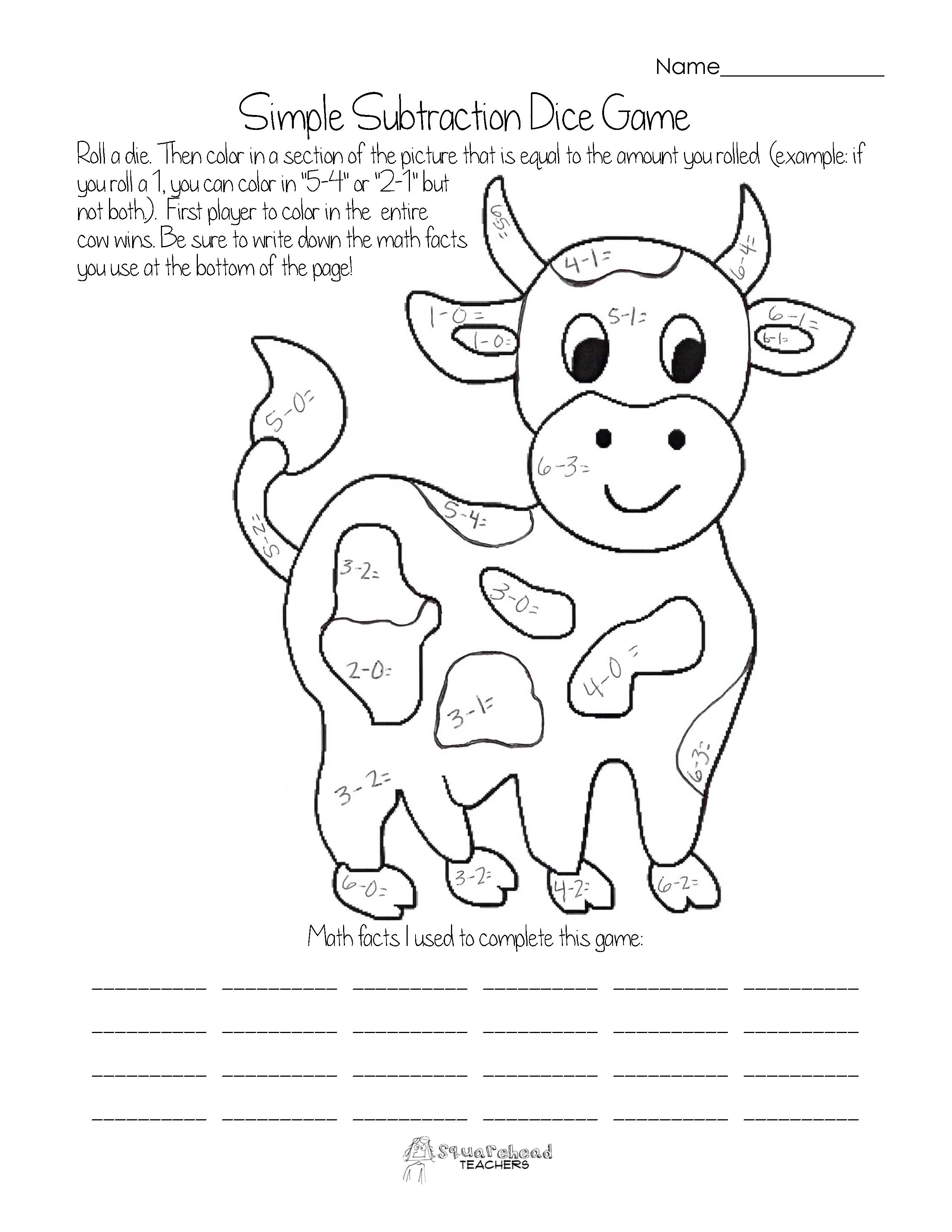 subtraction coloring pages - photo#17