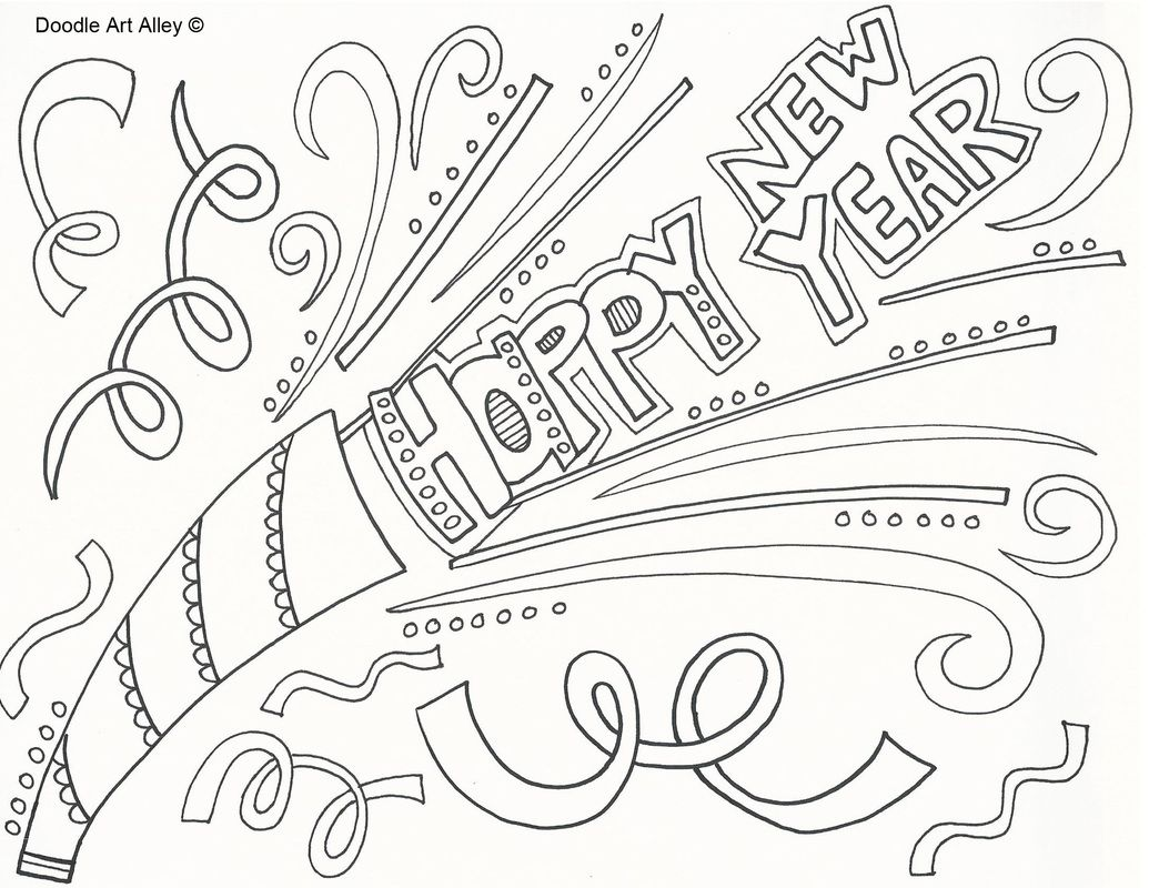 Year new Happy hat coloring pages pictures