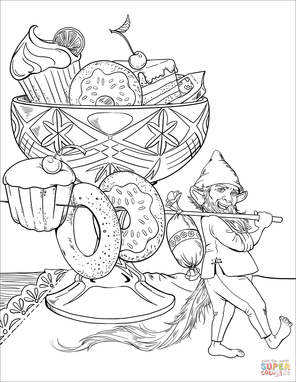 Gnome and His Dessert coloring page | Free Printable Coloring Pages