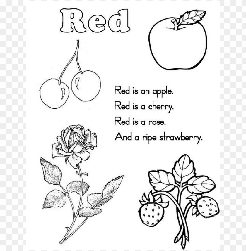 color red coloring sheet PNG image with transparent background | TOPpng