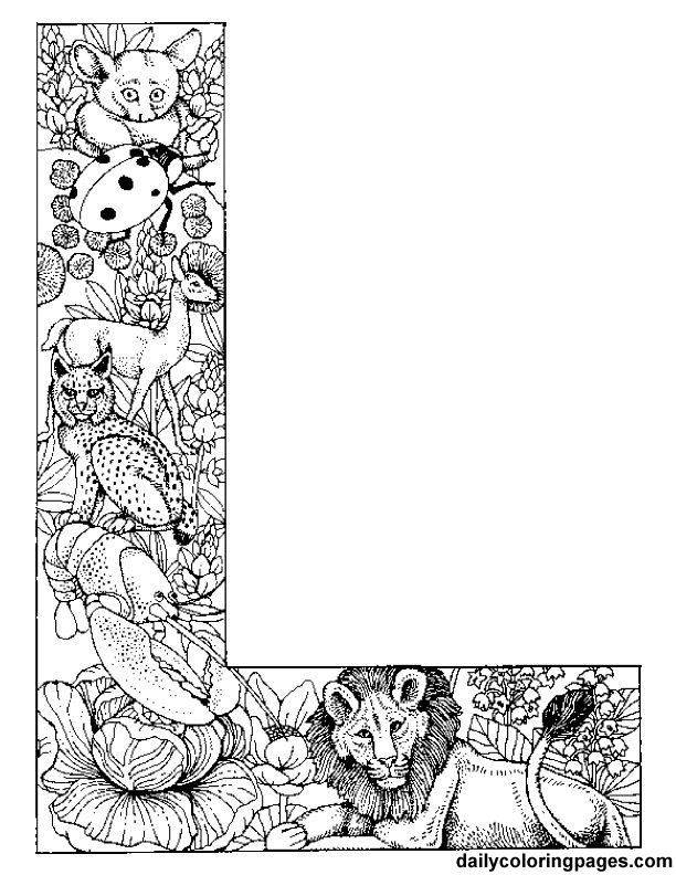 Intricate Alphabet Coloring Pages : Coloring pages letters adult home