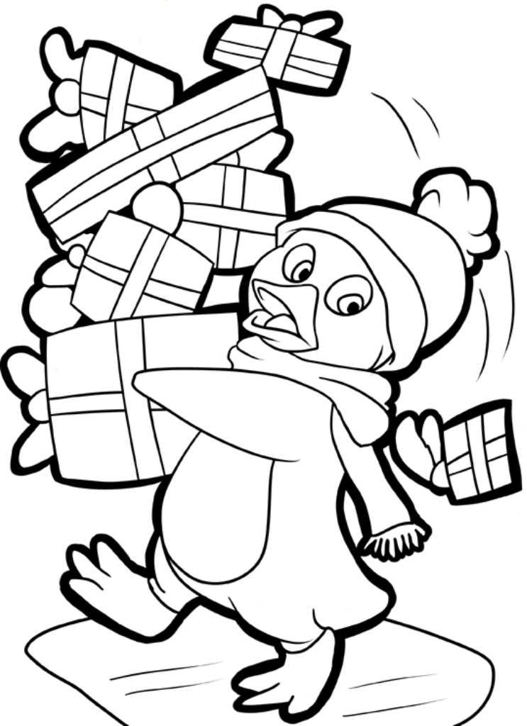 Christmas penguin coloring pages printable az coloring pages for Free coloring pages of penguins