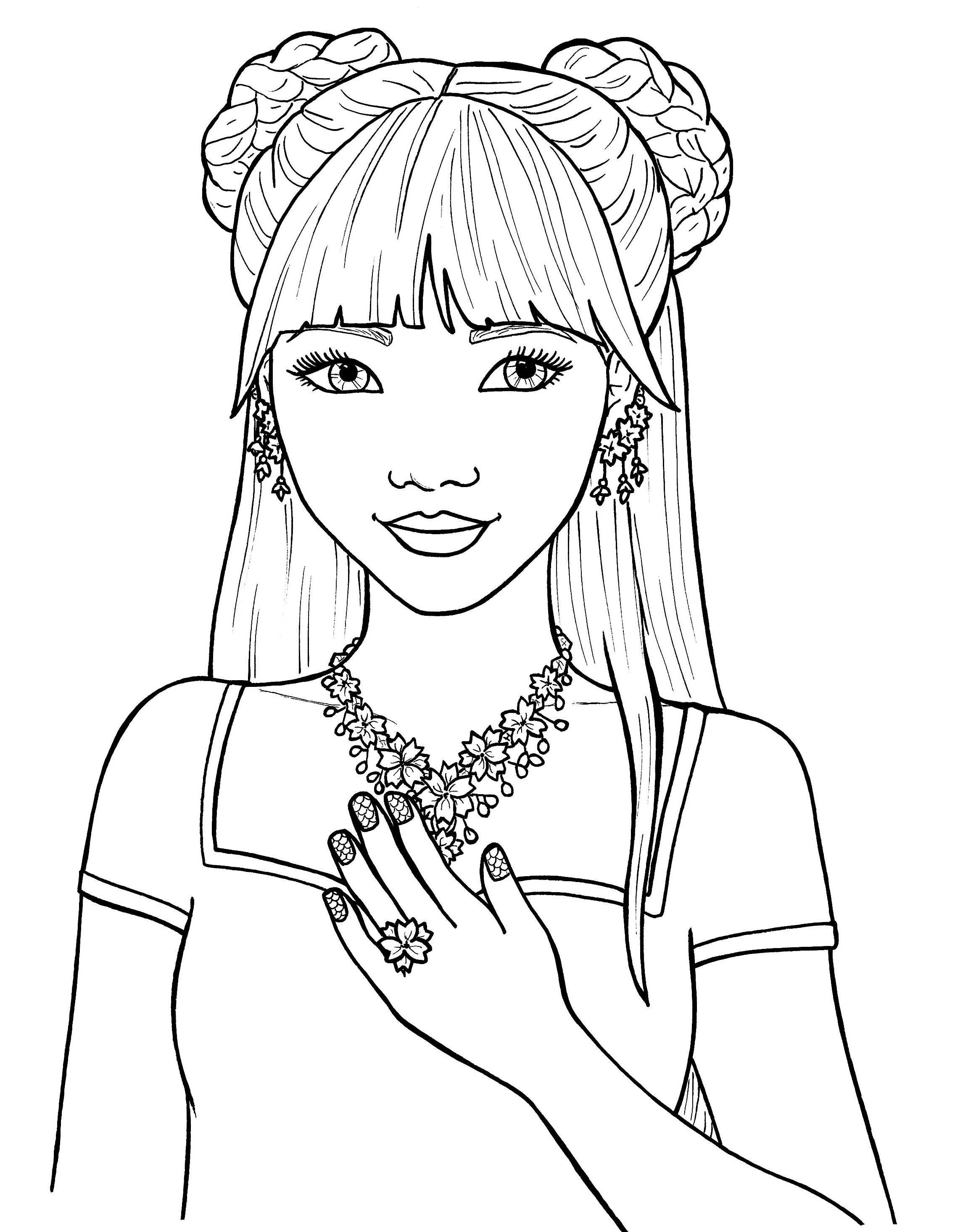 Pretty Girls Coloring Pages Free | Coloring pages for girls ...
