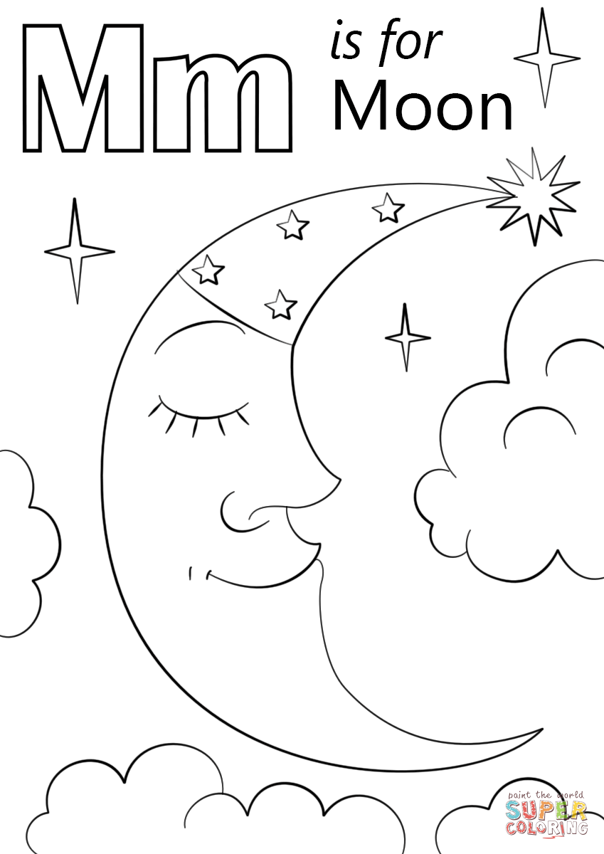 Letter M Is For Moon Coloring Page Free Printable Coloring Pages