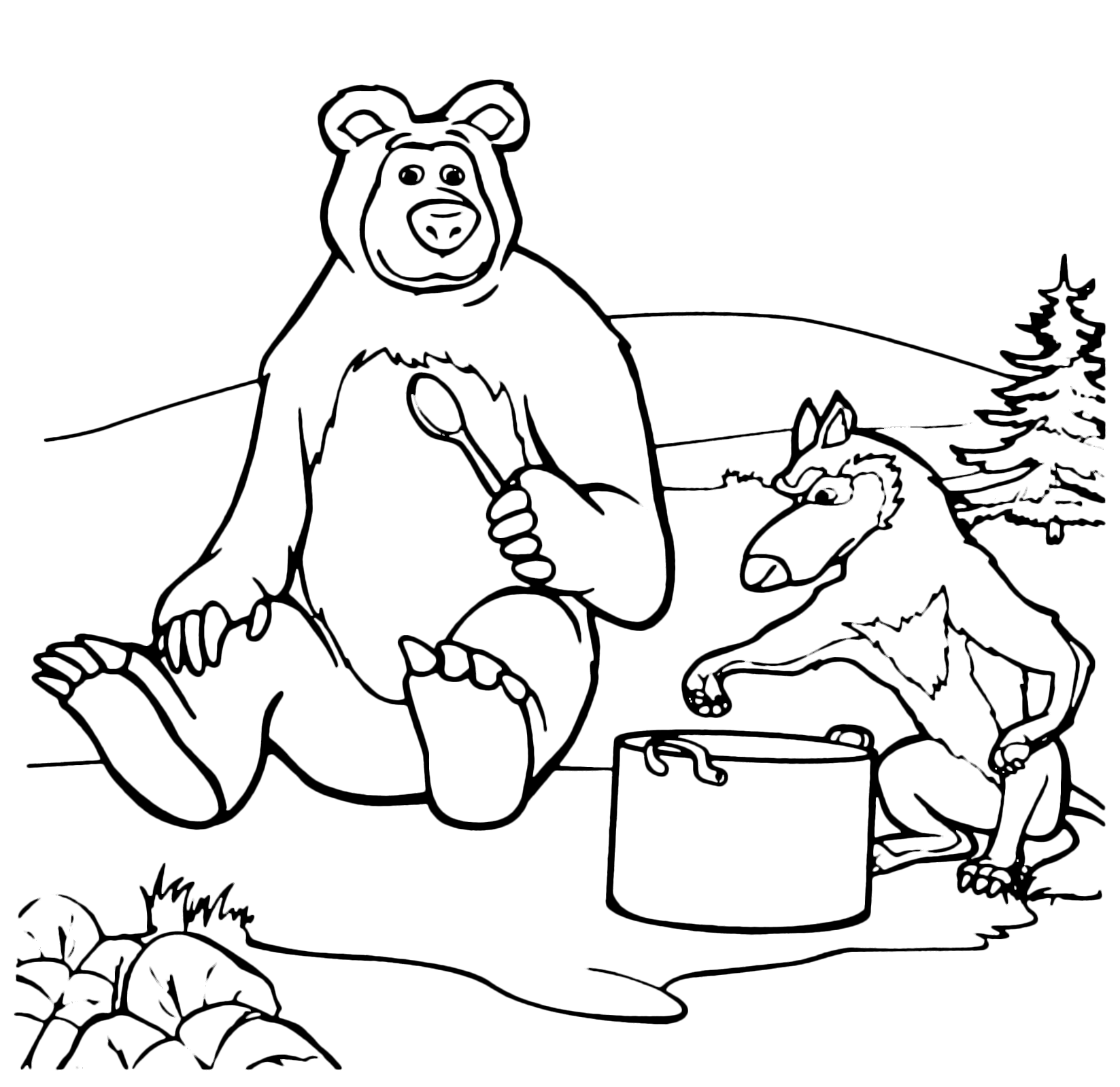 Masha And The Bear Coloring Pages - Coloring Home