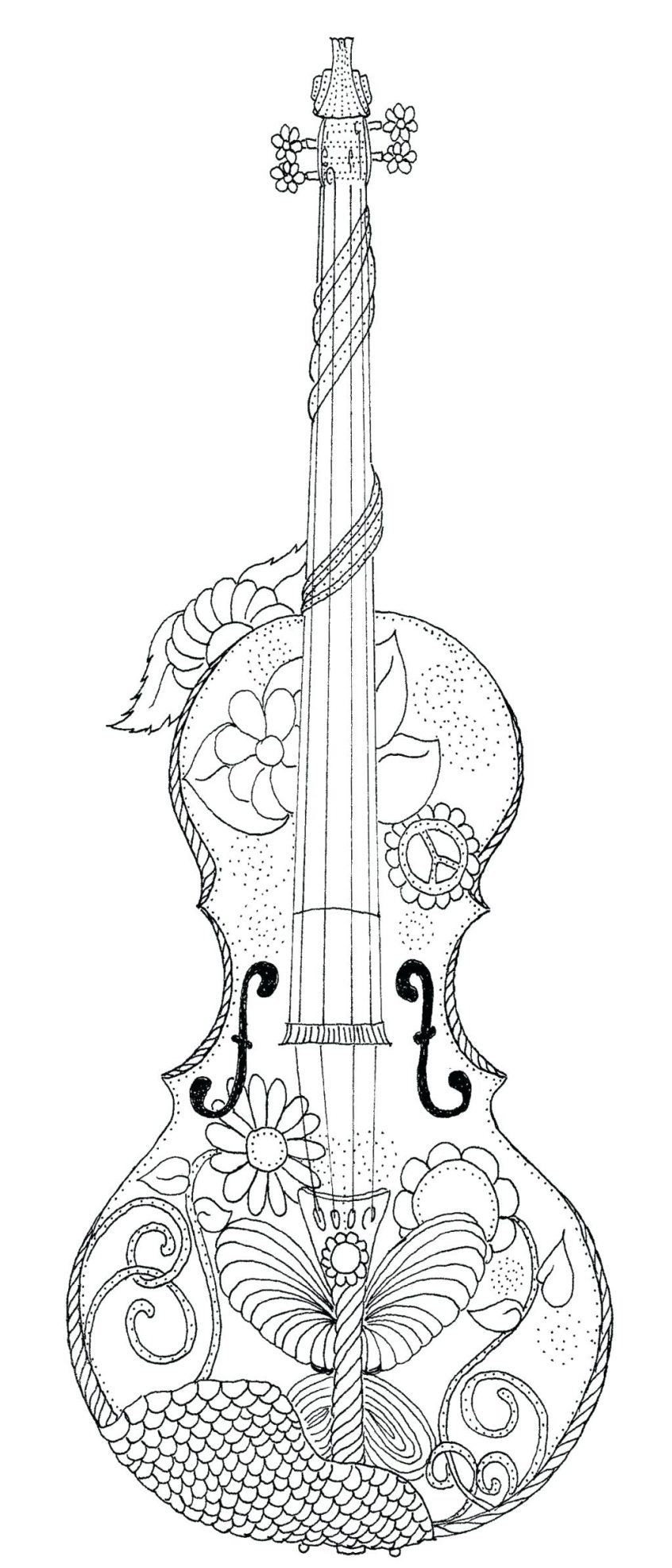 Violin Coloring Pages - Coloring Home
